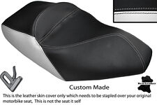 WHITE & BLACK CUSTOM FITS PIAGGIO X8 125 DUAL LEATHER SEAT COVER ONLY
