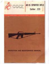 Colt AR-15 Sporter Rifle Operation Maintenance Manual Color Copy