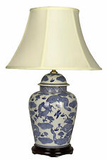 PAIR of Chinese Asian Porcelain Table Lamps in Blue and White.