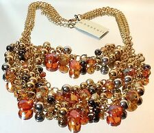 Miriam Haskell Dazzling Orange Crystal Gold 3 Tier Dangle Drop Cluster Necklace