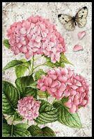Hydrangea and butterfly - Chart Counted Cross Stitch Pattern Needlework Xstitch