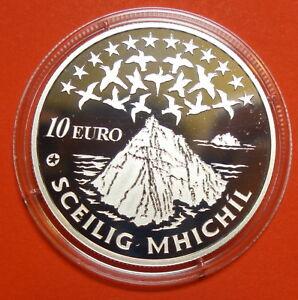 IRELAND:TEN  EURO SILVER  PROOF  SKELLIG MICHAEL 2008. STAR WARS.  FREE SHIPPING