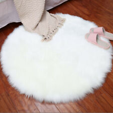 Round Plain Fluffy Rug Shaggy Floor Mat Faux Fur Hairy Carpet Home Room Decor