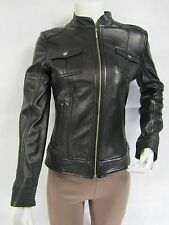 Ladies Black Napa Leather Zip Slim Tight Fitted Biker Jacket Bike