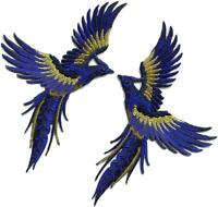 Phoenix phenix birds royal blue navy gold embr. appliques iron-on patches S-1334