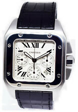 Cartier Santos 100 XL Chronograph Steel Mens 41mm Automatic Watch & Box 2740