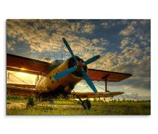 120x80cm Leinwandbild auf Keilrahmen Sonnenuntergang Altes Flugzeug