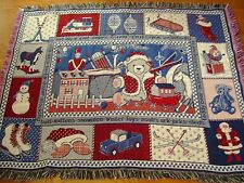 Christmas Blanket Santa Claus Woven Tapestry Afghan Reversible 58 x 44 Red Blue