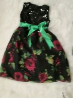 Kid Fashion Little Girls Black Sequin Rose Print Formal Party Dress Size 4 6 NEW