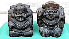 PAIR WOOD EARLY 20c JAPANESE CARVED HOTEI BUDDHAS BOOK END STATUES,SIGNED
