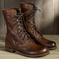 Men Vintage Military Leather Boots High top Riding Boots Casual Motorcycle Shoes