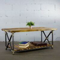 Houston  Industrial Chic Coffee Table Vintage Style Metal Frame Reclaimed Wood