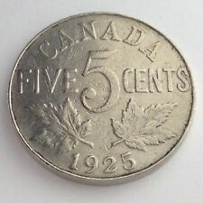 1925 Canada Five 5 Cent Silver Circulated Canadian George V Coin K918