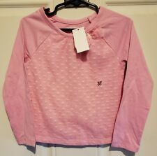 Nwt Wonderkids Pink Long Sleeve Mesh Front with Hearts Shirt Size 3T