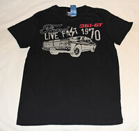 Ford Falcon XY GT Mens Live Fast Black Printed Short Sleeve T Shirt Size S New
