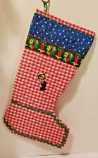 """Vintage Quilt Red & White Fabric Christmas Stocking Hand Made 1970's Boys 20"""""""