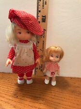 """2 Vintage Dolls Hong Kong Marked 6"""" And 4"""" Clean Original Clothes Shoes"""