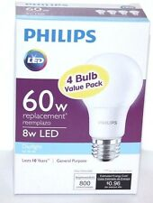 PHILIPS 4 BULB VALUE PACK 60W REPLACEMENT 8W LED DAYLIGHT 800 LUMENS