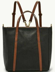 Fossil Sydney Black Leather Backpack Crossbody Satchel SHB2096001