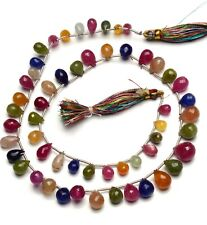 """Natural Gem Multi Sapphire 8x5 to 12x9MM Faceted Teardrop Briolette Beads 18"""""""