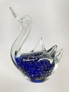 Blue Cased Glass Swan Handblown Art Glass Controlled Bubbles & Brown Speckles 8""