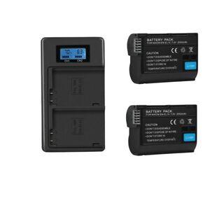 2* EN-EL15 Camera battery+LCD Charger For Nikon D800E D810 D7000 D7100 d750 V1