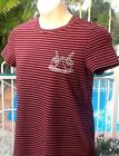 Ladies Top Ally Size M Maroon White Pinstripe Top Condition Top Quality
