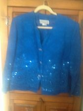IMAGES OF MANY COLORS BY LUCREZIA 100% Silk Blue Buttoned Lined Floral Blazer 14