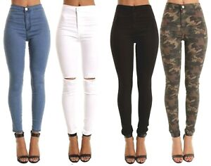 SKINNY JEAN JEGGINGS HIGH RISE TROUSERS SLASH WOMENS HOT PANTS UK S M 4 TO 22