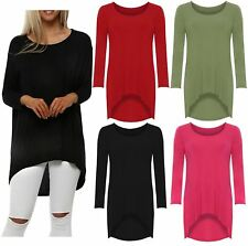 Ladies Plus Size Fishtail Uneven Dipped Hemline Long Sleeve Stretch T-Shirt Top