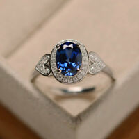 1.65 Carat Real Diamond Wedding Ring 14K Solid White Gold Sapphire Size 6 7.5 8