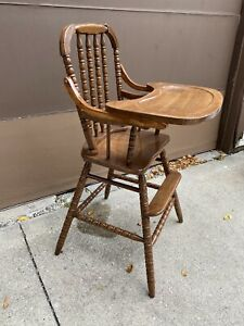 Vintage Refinished Jenny Lind Wooden Baby Feeding Youth High Chair & Tray