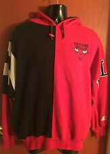 VTG 90's Chicago Bulls NBA Starter Color Block Hoodie Black Red Men's Size Large