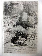 Eau-forte Comune de Paris 1871 Adolphe Martial Potemont Mort des enfants soldats