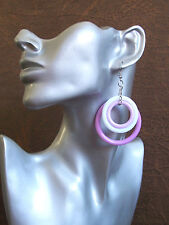 Big deep pink and white triple hoop plastic earrings - clip-on option