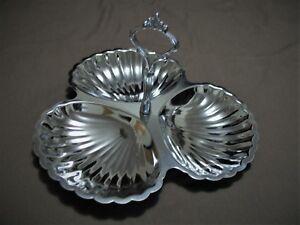 Vintage, Sturdy Chrome 3 Triple Candy Seashell Dish Serving Tray w/ Handle