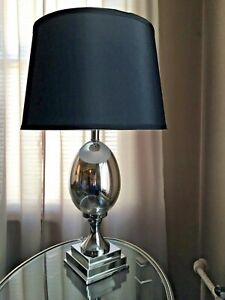 SILVER MODERN DECORATIVE 2-PIECE TABLE LAMP SET Pair Polished Silver Orb Lamps