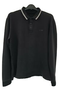 Armani Jeans Long Sleeve Polo Shirt Size Large Ex Con