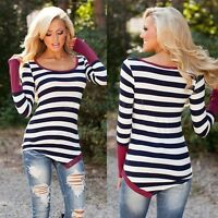 Womens Ladies Striped Long Sleev top blouse black & white Tops T-shirt size 8-18