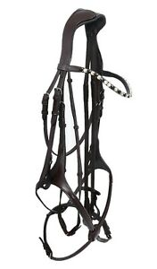 NEW LEATHER HORSE MEXICAN GRACKLE SHOW BRIDLE WITH 10MM DIAMANTE BROWBAND BLACK