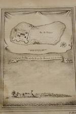 GRAVURE AFRIQUE SIERRA LEONE ILE ET FORT DE BENSE BUNCE 1747
