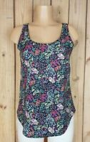 FADED GLORY Womens Size Small Sleeveless Shirt Scoop Neck Floral Print Poly Top