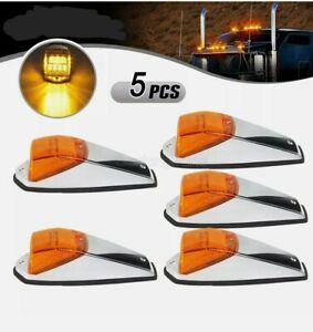 5 pcs Amber Chrome 31 LED Cab Marker Lights for Peterbilt Kenworth Freightliner