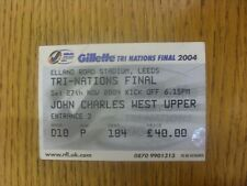 27/11/2004 Ticket: Rugby League - Tri-Nations Final - Great Britain v Australia