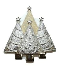 Vintage Christmas Pin Brooch 4 Tree Cluster Rhinestones Silver Tone Unsigned