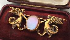 Vintage Antique Jewellery Gorgeous Gold And Mother Of Pearl Angel Brooch