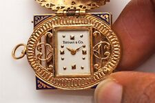 Antique 1940s 14k Gold Blue Enamel Pearl Tiffany & Co Pendant Watch Runs WTY