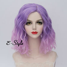 Medium Curly 35CM Light Pink Mixed Purple Fashion Ombre Lolita Women Cosplay Wig