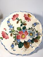 """Floral Hand Painted ITALY Ceramic Large Plate 13"""""""
