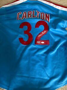 Philadelphia Phillies Steve Carlton Nice Signed Autograph Custom Jersey BAS JSA